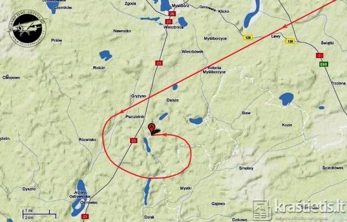 """Spėjama """"Lituanikos"""" skridimo kryptis prieš katastrofą, sudaryta pagal P.Šulco pasakojimą"""